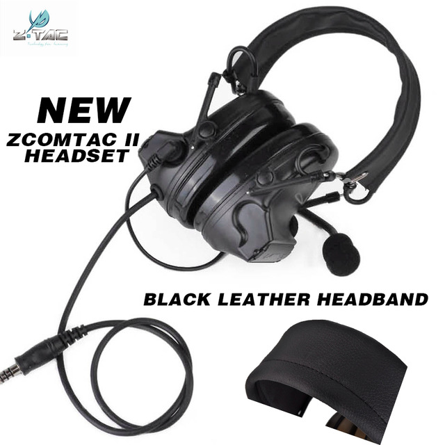 NEW z-tactical comtac ii headset radio anti noise headphones with black leather headhand Z041