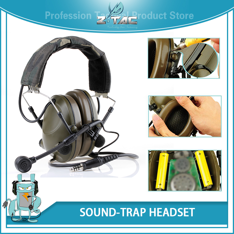 Aviation Peltor Sound-Trap Headset Military Noise Cancelling Headphones Softair Z042
